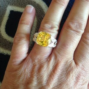 Citrine silver plated ring, size 7